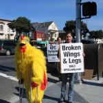 "Our costumed ""Mr C Chicken"" walks on crutches"