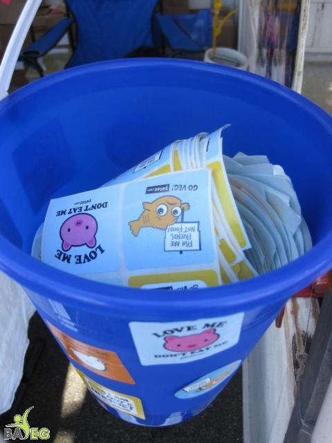 Bucket of PETA stickers -- these are crazy popular with everyone