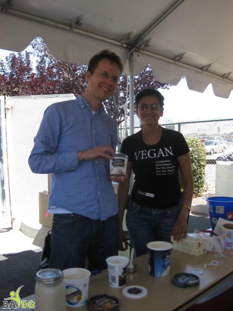 Christian and Jina ready to hand out Turtle Mountain ice cream samples at the BAVeg table