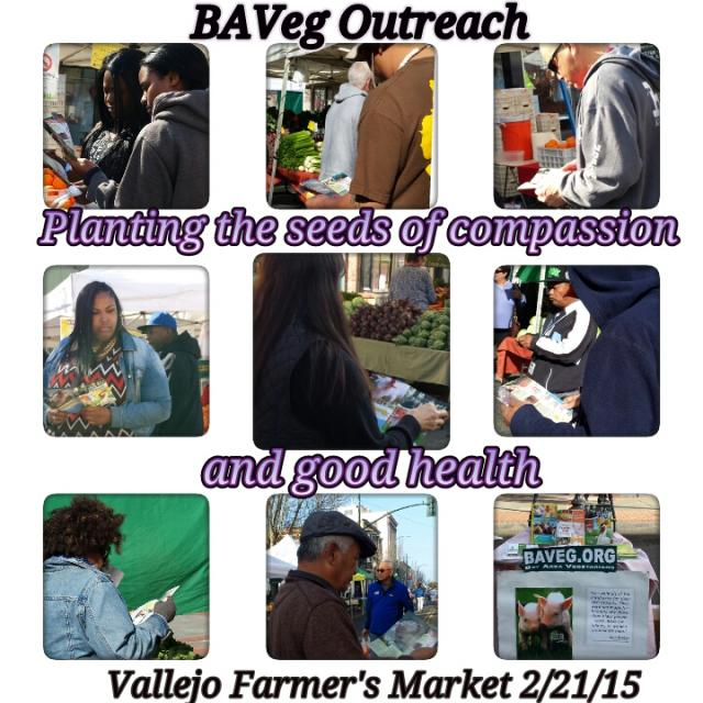 Vegan outreach at Vallejo Farmer's Market - Feb