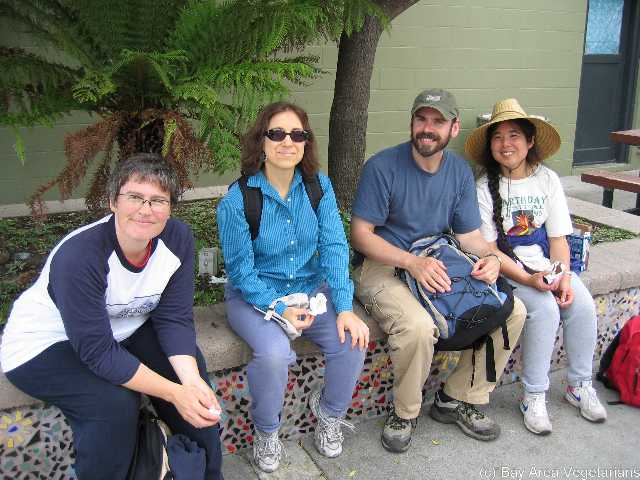 Regina, Paula, Warren, and Tammy... detoured into civilization by walking to downtown HMB