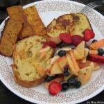 Sunday breakfast -- smoky tofu, french toast, fruit salad