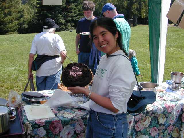 This is the vegan chocolate Black China cake that Chris won at the Country Tea silent auction benefit for Farm Sanctuary. The sp