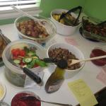 Green Salad, Roasted Potatoes, Tofu & Green Beans, Wild Rice stuffing, cranberry sauce, and more