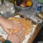 Ann, kneading the sweet potato biscuit dough