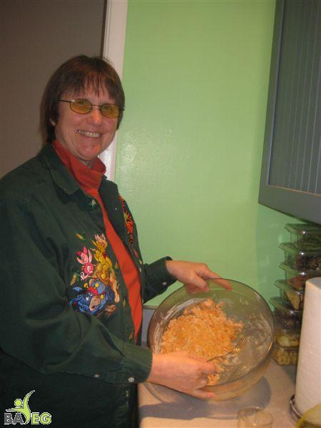 Ann, with the sweet potato biscuit dough